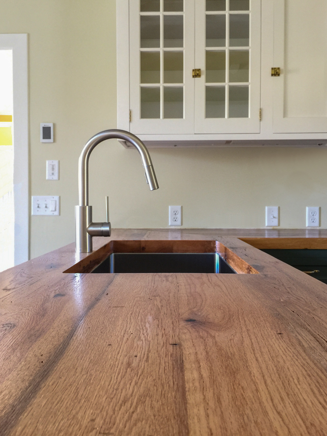 Reclaimed Red Oak Counter in Private Home