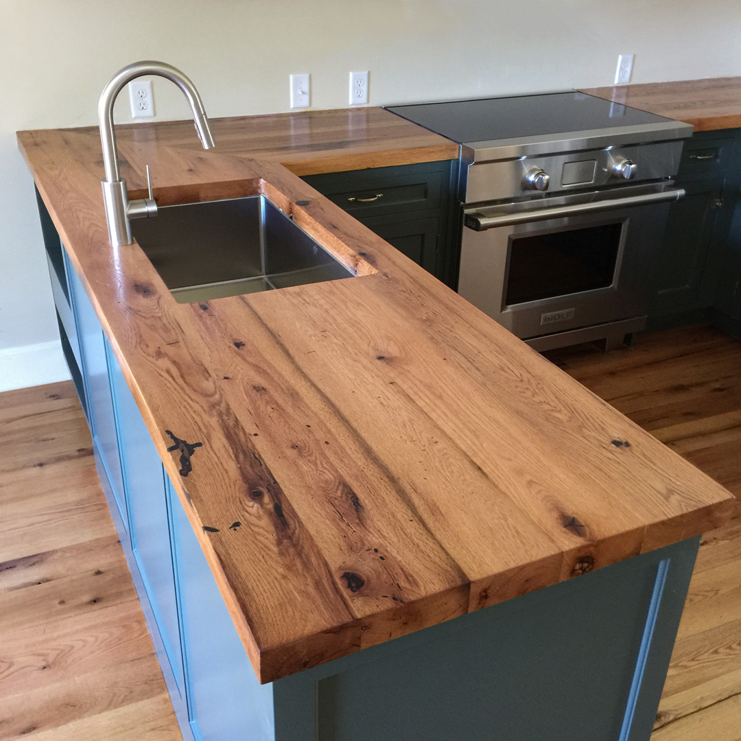 Reclaimed Oak Counters and Flooring in Private Home