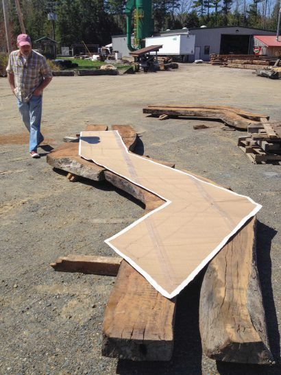 Laying Out Salvaged Live Oak For Theater Bartop
