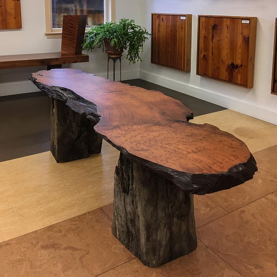 Salvaged Finished Redwood Slab with Live Oak Base
