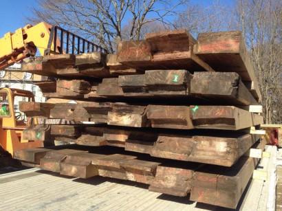 Longleaf Lumber Reclaimed Heart Pine Beams Arrive On-Site