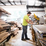 Marc Poirier Chops Defects from Flooring at Longleaf Lumber