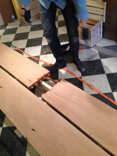 Reclaimed Wood Bar Top for Thistle Pig Restaurant by Longleaf Lumber
