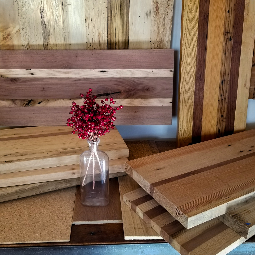 Longleaf Lumber Reclaimed Wood Cutting Boards in Cambridge Showroom