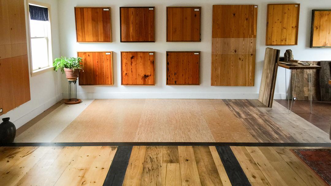 Reclaimed Wood & Cork Flooring in Longleaf Lumber Cambridge Showroom