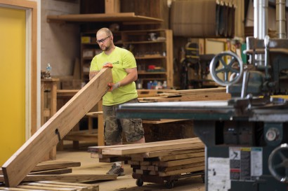 John Chooses Reclaimed Wood Stock for Countertops at Longleaf Lumber