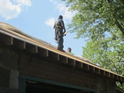 Roofers Repairing Magazine Beach Powder House