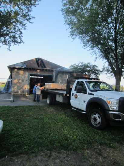 Longleaf Lumber Delivers Donated Rafters to Magazine Beach Powder House