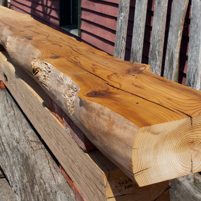 Live Edge Hemlock Reclaimed Wood Mantel