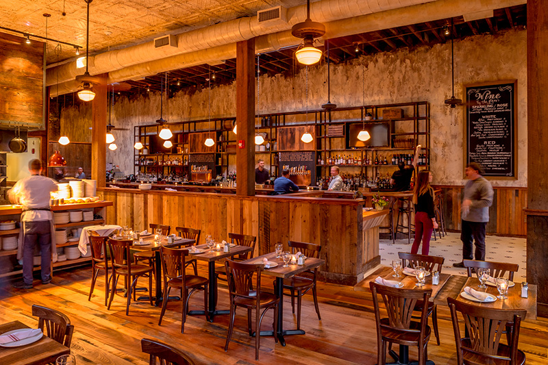 Reclaimed Hardwood Flooring And Spruce Tables Monument Restaurant Charlestown Ma