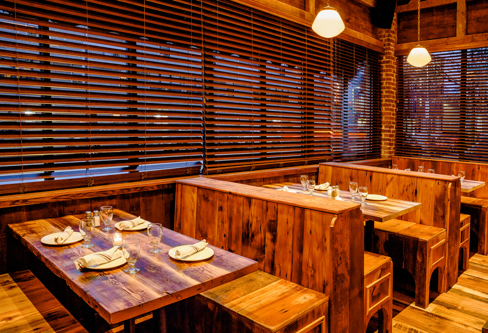 Reclaimed Wood Tables In Charlestown, MA Restaurant