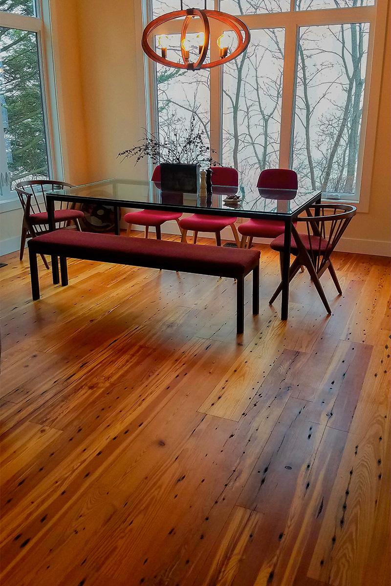 Reclaimed Naily Buckshot Heart Pine Flooring - Tung Oil Finish