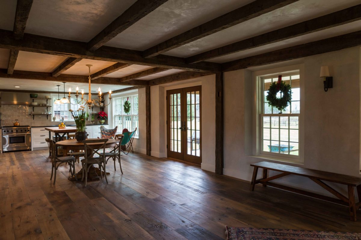 Reclaimed Oak Flooring And Beams In Private Residence
