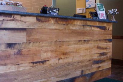 Restaurant Reclaimed Skip-Planed Mixed Hardwoods Paneling in Attleboro, MA