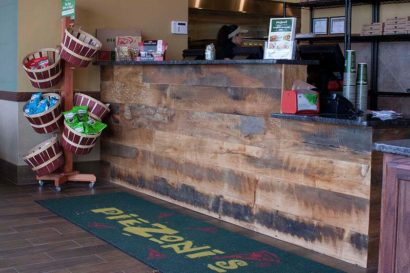 PieZoni's Restaurant Reclaimed Skip-Planed Mixed Hardwoods Paneling in Franklin, MA