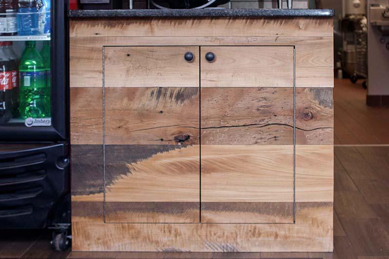 Restaurant Reclaimed Skip-Planed Mixed Hardwoods Paneling in Smithfield, RI. Finished with Water-Based Polyurethane.