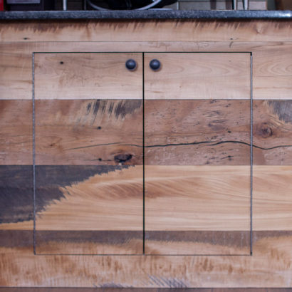 Reclaimed Skip-Planed Mixed Hardwood Restaurant Paneling