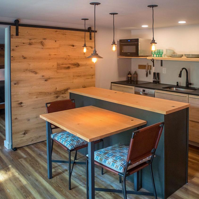 Post & Beam Oak Paneling on Sliding Door
