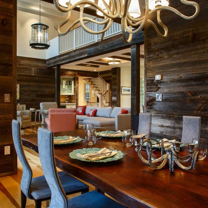 Reclaimed Barn Board Wall Paneling in Private Home