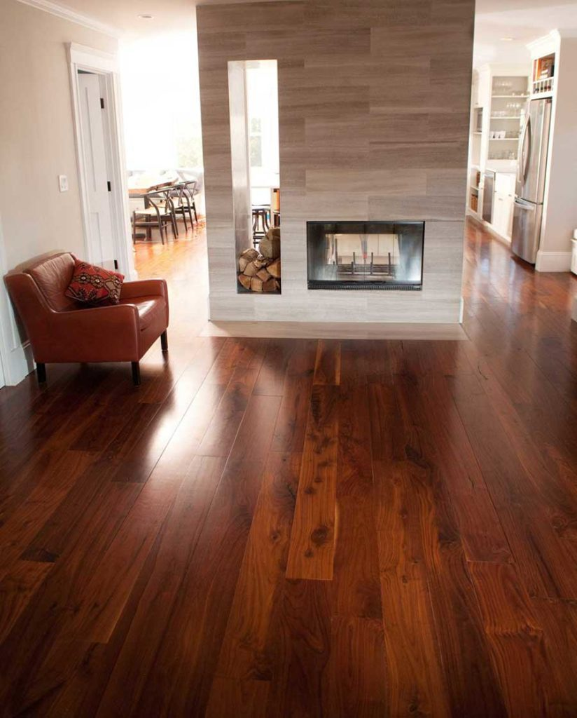 Reclaimed Black Walnut Flooring in a Cambridge, MA private residence.