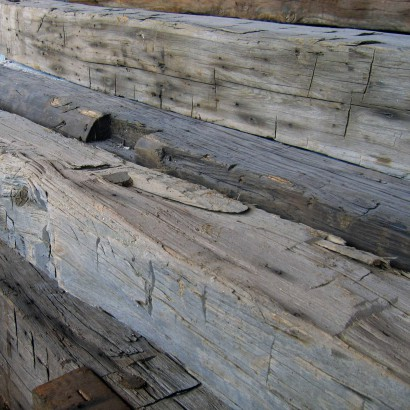 Reclaimed Wood Mantel Hand-Hewn Surface