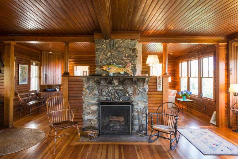 Custom Profile Reclaimed Heart Pine Ceiling Paneling ~ Private Residence, Maine