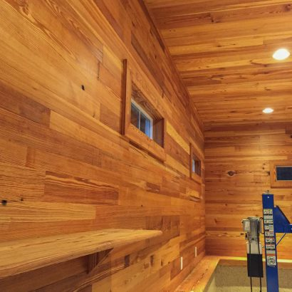 Reclaimed Heart Pine Wall Paneling In Private Garage