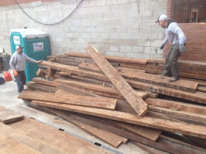 reclaimed heart pine joists 474 beacon street