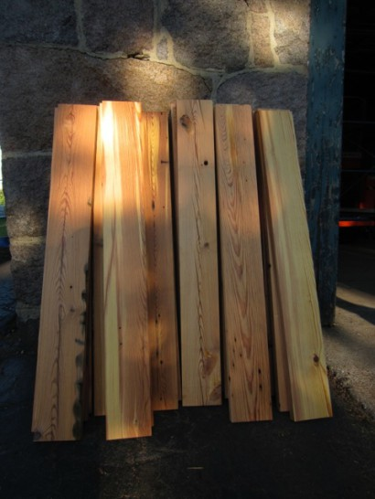 Donated Heart Pine Rafters for Magazine Beach Powder House