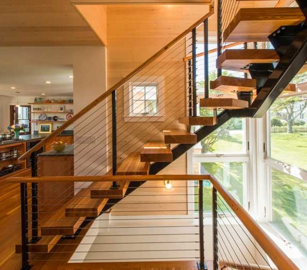 Reclaimed Heart Pine Stair Treads ~ Private Residence, Maine