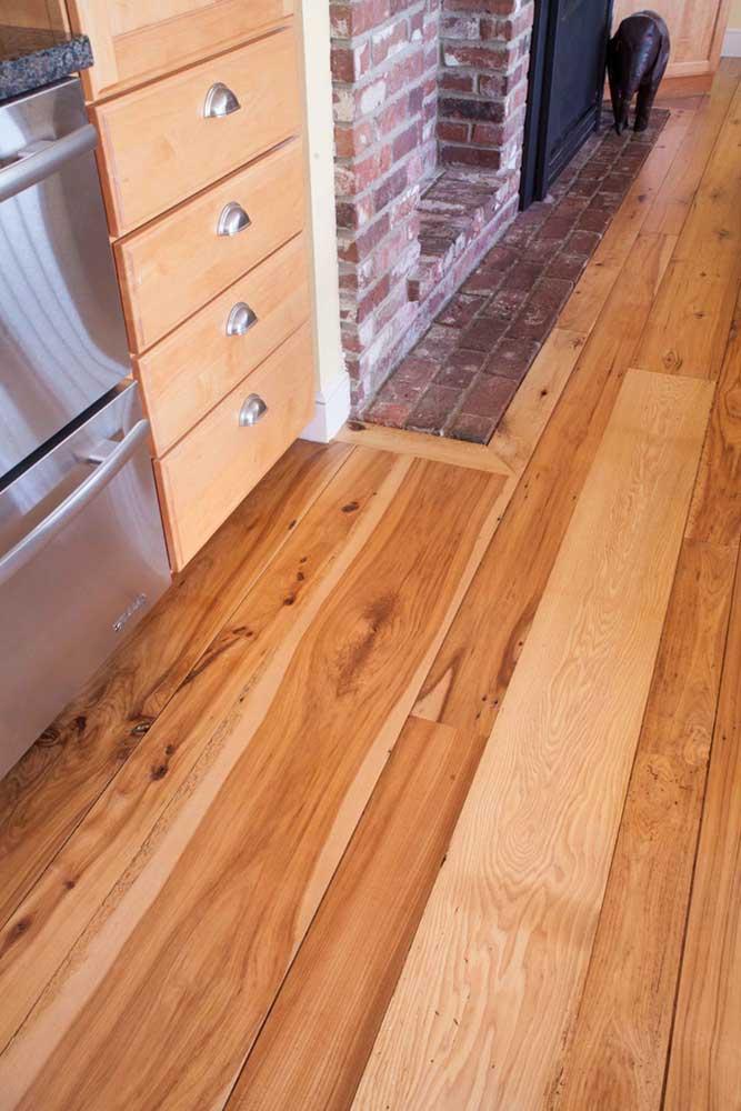 Reclaimed Hickory Wood Flooring ~ Weston, Massachusetts Private Residence