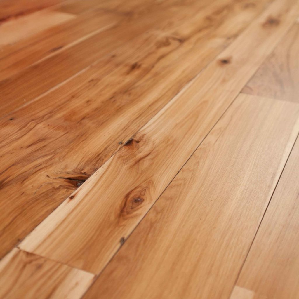 Reclaimed hickory flooring with a water-based polyurethane finish.