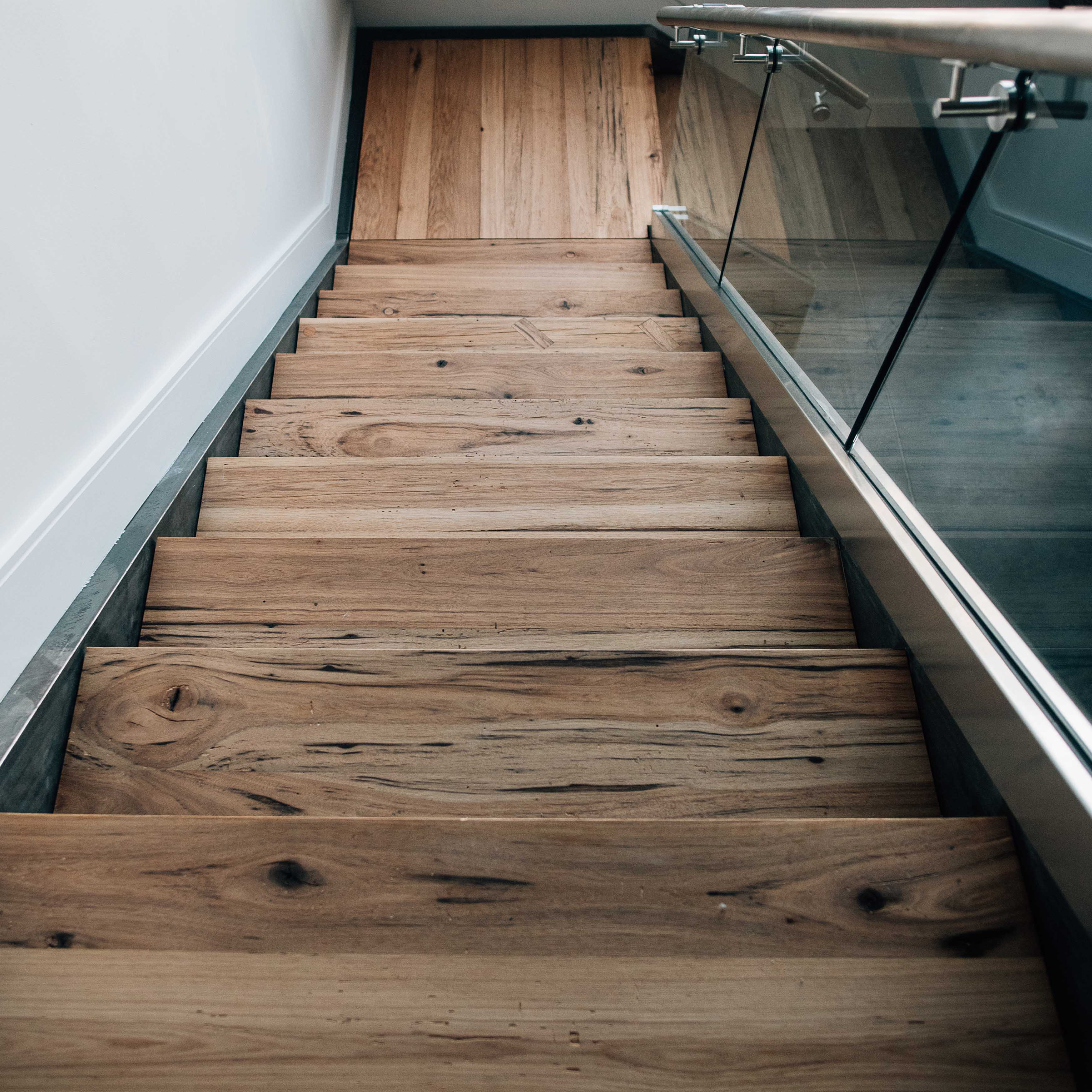 Reclaimed Hickory Treads Installed In Steel Staircase By Ns Builders Boston