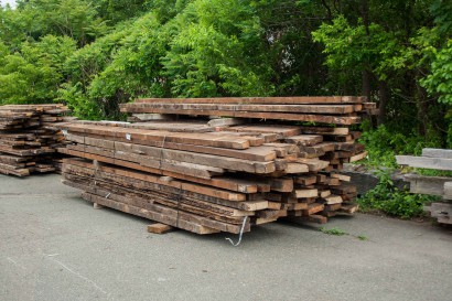 Reclaimed joists salvaged from Boston's Hooper Mansion.