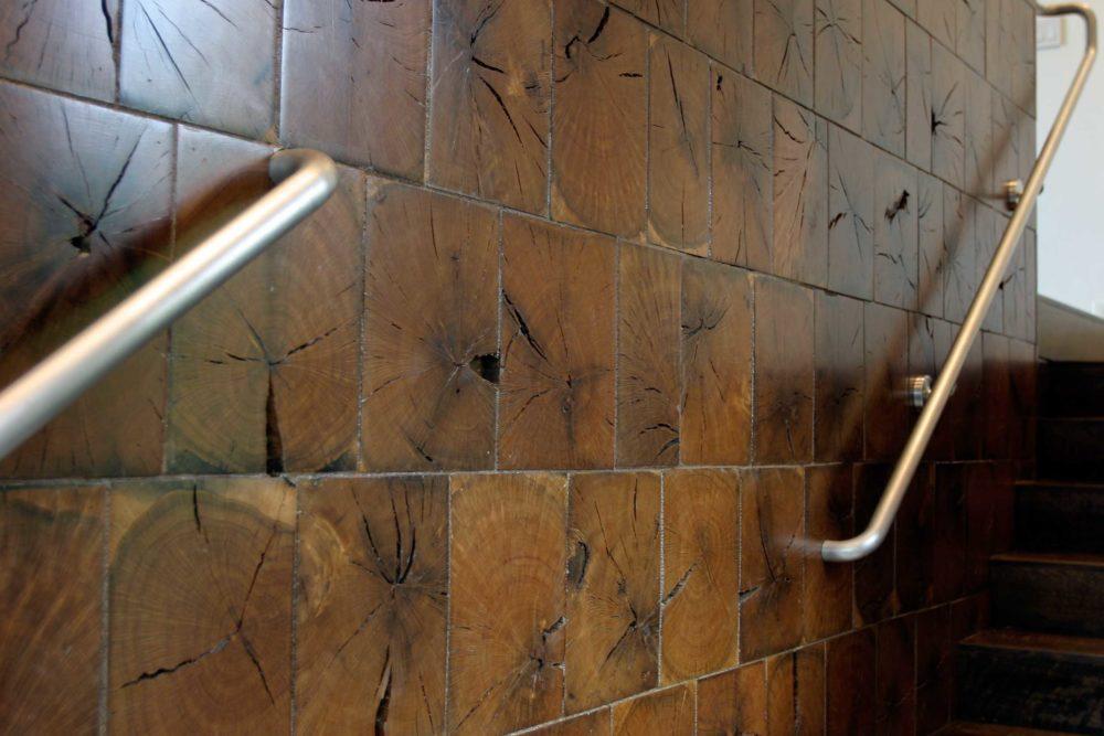Reclaimed Live Oak End Grain Tile Wall Paneling