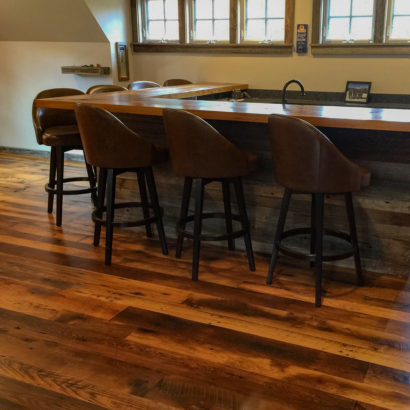 Skip-Planed Reclaimed Oak Flooring and Bar Barn Siding