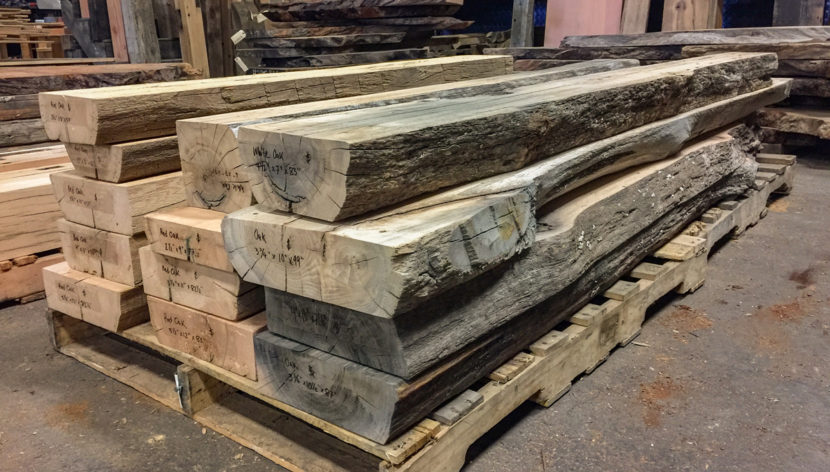 Red and White Reclaimed Oak Beam Mantels