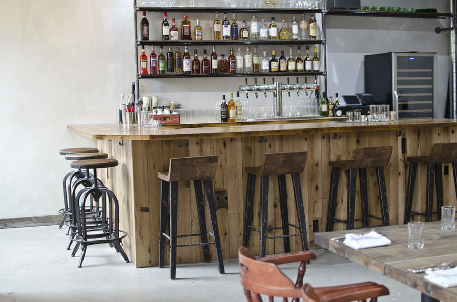 Reclaimed Oak Post & Beam Paneling and Reclaimed 'Bright-Planed' Factory Maple Bartop