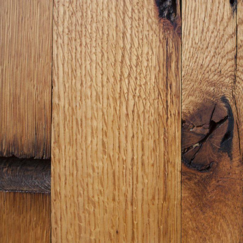 Reclaimed Post & Beam Oak Paneling - Waterlox Tung Oil Finish