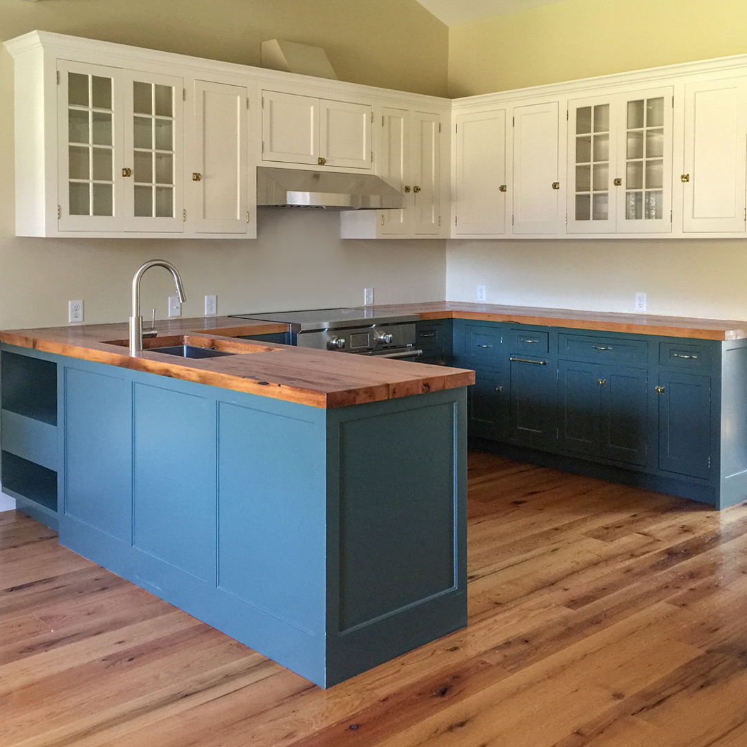 Reclaimed Red Oak Flooring and Counters in Private Home