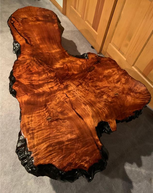 Salvaged Redwood Slab Table Finished Water Waterlox Marine Sealer