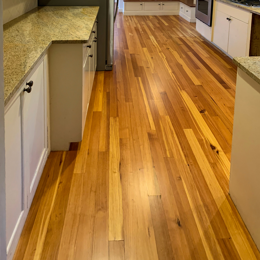 Reclaimed Select Vertical Grain Heart Pine Flooring Finished With Tung Oil