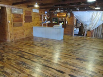 Reclaimed Skip-Planed Factory Maple Flooring at Bosebuck Mountain Camps in Maine