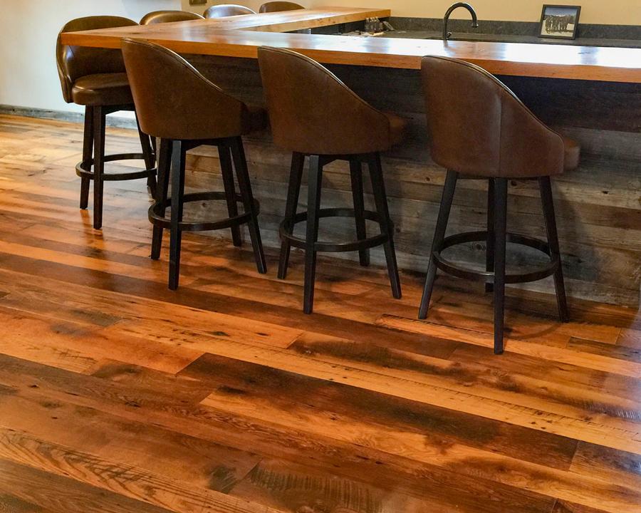 Skip-Planed Reclaimed Oak Flooring and Bar Barn Siding