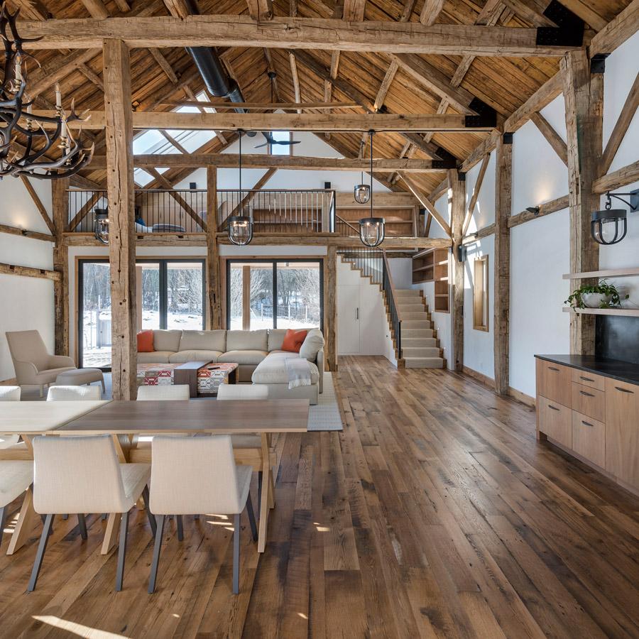 Reclaimed skip-planed oak flooring in home