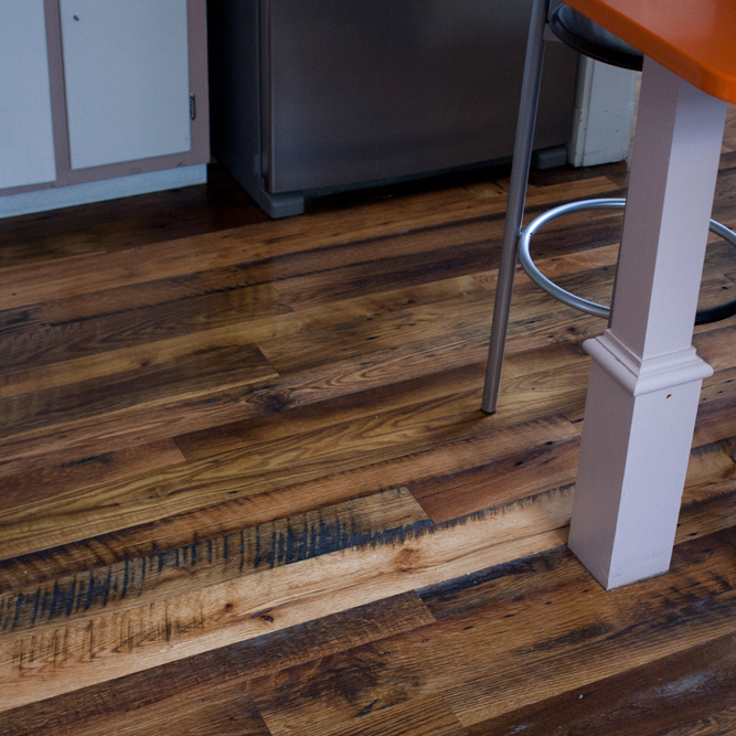 Longleaf lumber reclaimed skip planed oak kitchen floor for Reclaimed decking boards
