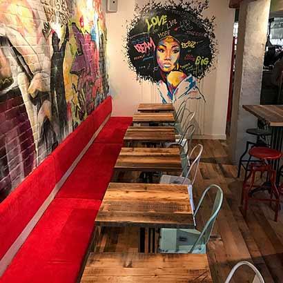 Reclaimed Skip-Planed Spruce Tables and Oak Flooring - Boston