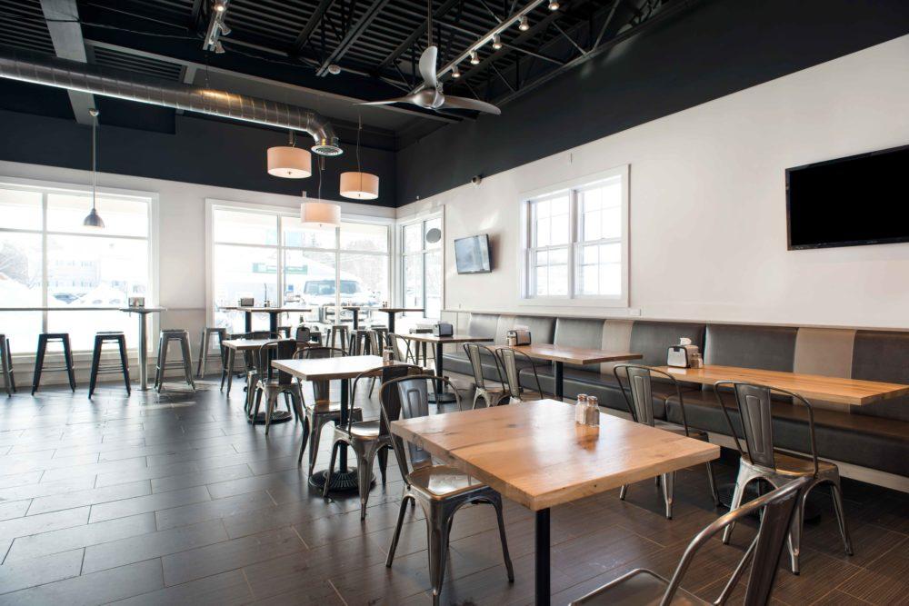 Reclaimed White Oak Tables ~ Pomodori Restaurant, Georgetown, MA