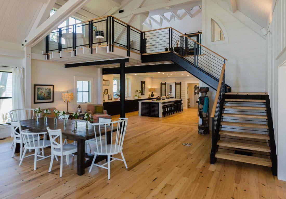 Reclaimed White Wood Flooring & Maple Treads