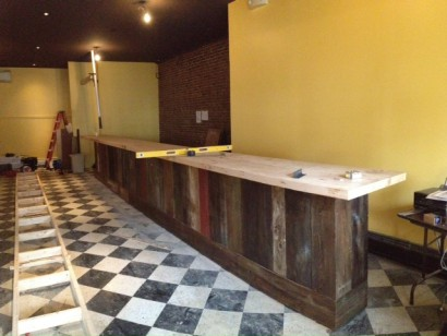 Reclaimed Wood Bar Top for Thistle Pig Restaurant by Longleaf Lumber - Longleaf Lumber - The Thistle Pig's Reclaimed Wood Bar Top